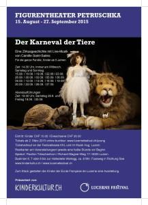 Programme automne 2015 de l'Alliance Françaisede Lucerne Flyer Carnaval des animaux